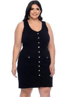 Vestido Plus Size Cambos Preto Justo Com Botões