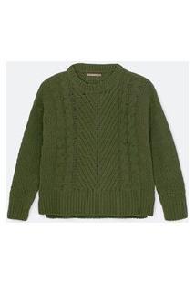 Suéter Chenille Com Detalhes Trançados Curve & Plus Size Verde