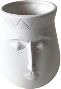 Vaso De Cerã¢Mica Branco Linha Faces - Incolor - Dafiti