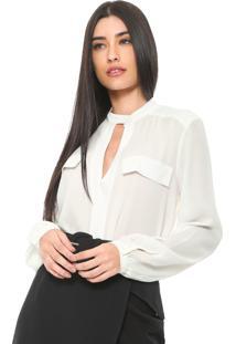 Camisa Enna Alongada Mullet Off-White