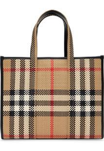 Burberry Small Check-Print Latticed Tote Bag - Neutro