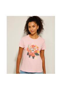 Camiseta De Algodão Frutas Manga Curta Decote Redondo Rosa Claro