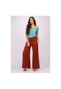 Calça Pantalona Viscose Amazonia Vital Com Fenda Terracota