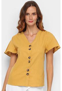 Blusa Dom Fashion Botões Feminina - Feminino-Amarelo