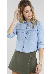 4b91245453 ... Camisa Jeans Feminina Cropped Com Bolsos Manga Longa Azul Claro