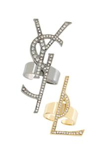 Saint Laurent Conjunto 2 Anéis Com Logo - Metálico