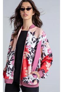 Jaqueta Bomber Estampada Rosa