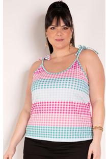 Blusa Xadrez Com Alças Para Amarrar Plus Size