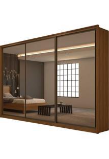 Guarda Roupa Casal Com Espelho 3 Portas 6 Gavetas Spazio Super Glass Marrom - Tricae