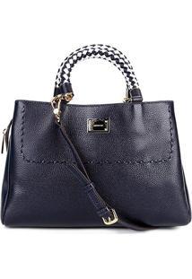 86c6228851 ... Bolsa Couro Luz Da Lua Handbag Plaquinha Feminina - Feminino-Marinho
