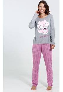 Pijama Feminino Manga Longa Estampa Gato Bolinhas Marisa