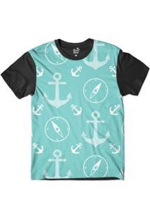 Camiseta Long Beach Náutica Âncora E Pontos Sublimada Masculina - Masculino