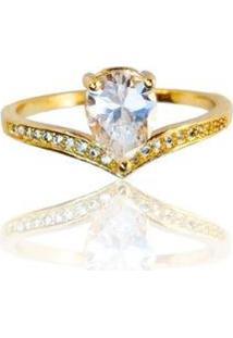 Anel Gota Cristal Cravejado - Feminino-Dourado