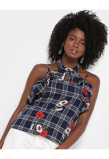 Blusa Lily Fashion Xadrez Floral Babados Feminina - Feminino-Marinho