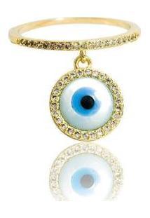 Anel Olho Grego - Feminino-Dourado