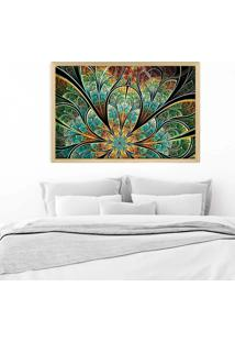 Quadro Love Decor Com Moldura Flor Vitral Verde Madeira Clara Mã©Dio - Multicolorido - Dafiti