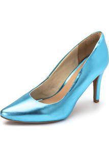 Scarpin Salto Fino Flor Da Pele Metalizado Hologrã¡Fico Azul Serenity - Azul - Feminino - Dafiti