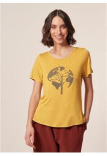 T-Shirt Mob Malha Globo Damasco Feminina - Feminino-Amarelo