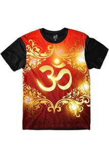 Camiseta Long Beach Ohm Ouro Florais Sublimada Masculina - Masculino-Vermelho+Preto