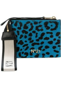 Nº21 Carteira Com Estampa Leopardo - Azul