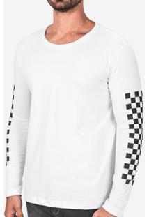 Camiseta Manga Quadriculada Branca 102742