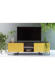 Rack Para Tv Preto Estilo Industrial 2 Portas Amarelas Pés De Metal Crosby 163X43,6X48,5 Cm