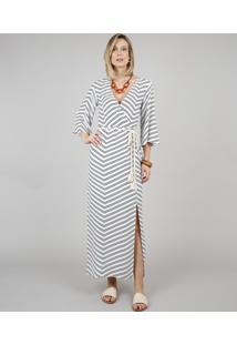 Vestido Feminino Longo Estampado Geométrico Com Cinto Manga 3/4 Off White