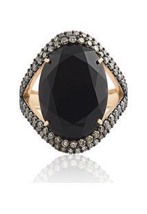 Anel Ouro Rosé Quartzo Negro E Diamantes Brown
