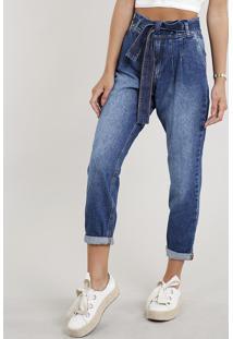 e053be85b ... Calça Jeans Feminina Clochard Com Faixa Para Amarrar Azul Médio