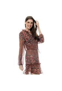 Vestido 101 Resort Wear Forrado Curto Babados Manga Longa Crepe Estampado Floral Fundo Preto Estampado Gravataria Vinho