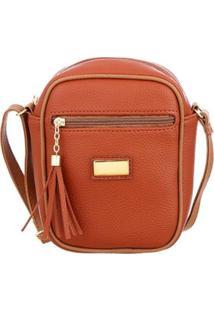 Bolsa Me Visto Média Shoulder Bag Feminina - Feminino-Caramelo