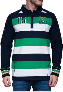 Blusa Kevingston Stockport Rugby Verde Claro Listrado
