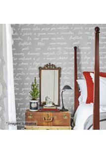 Papel De Parede Poema- Cinza & Branco- 300X44Cm-Grudado