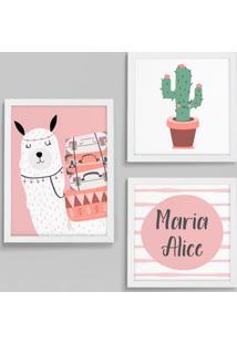 Conjunto Com 3 Quadros Decorativos Lhama Aventureira Branco E Rosa