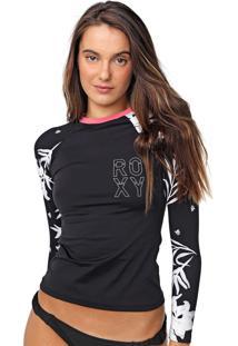 Camiseta Roxy Bicolys Preta/Branca