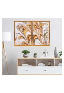Quadro Love Decor Com Moldura Chanfrada Mármore Abstrato Dourado Dourado - Grande