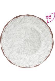 Jogo De Pratos Texturizados- Branco & Marrom- 6Pçs