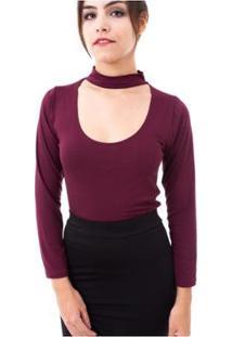 Blusa Moda Vicio Gola Alta Com Decote E Manga Comprida Feminino - Feminino-Vinho