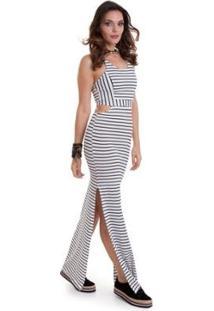 Vestido Manola Longo Listrado De Alça Fina Feminino - Feminino-Cinza