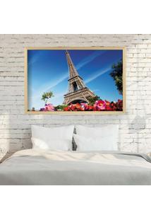 Quadro Love Decor Com Moldura Paris Fleurs Madeira Clara Médio