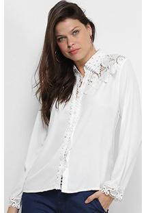Camisa Manga Longa Chic Up Guipir Feminina - Feminino-Branco