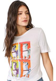 Camiseta Carmim Dog Off-White/Laranja