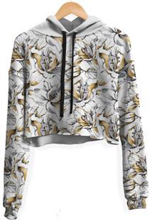 Blusa Cropped Moletom Feminina Floral Lírios Dourados - Kanui