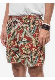 Short Vermelho Tropical 400062