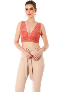 Cropped Poema Hit Lingerie Renda Coral