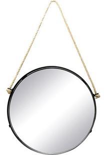 Espelho Redondo- Espelhado & Preto- 43X34X4Cm- Ddecor Glass