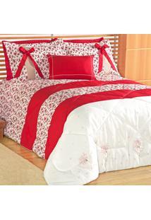 Edredom Queen 5 Peças Floral Vermelho Jasmin