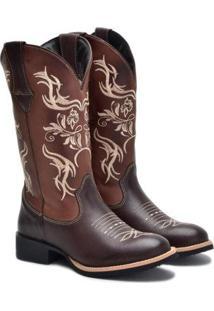 Bota Form'S Texana Couro Rodeio Bico Redondo Feminina - Feminino