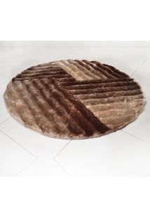 Tapete Shaggy 3D 1,50M Redondo Para Salas E Quartos Bege Graffi - Tessi