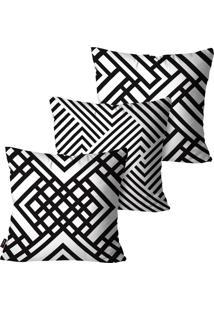 Kit Com 3 Capas Para Almofadas Decorativas Branco Linhas 45X45Cm Pump Up